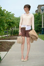 Peach-knit-h-m-sweater-beige-wool-thrift-store-blazer-brown-cargo-h-m-shorts