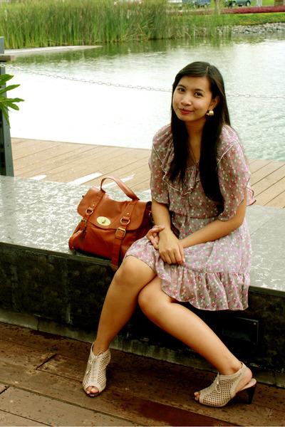 beige Janylin shoes - purple thrift dress - brown bag HK accessories