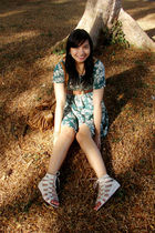 green thrift dress - white lace-up sandals Charles & Keith shoes