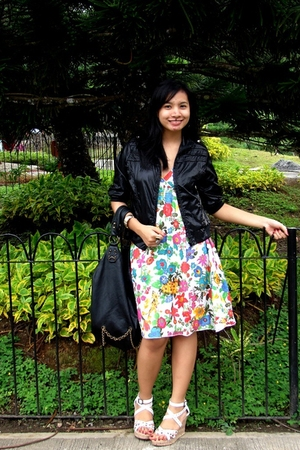 MNG floral dress - DKNY via thrift jacket - People are People studded wedges sho