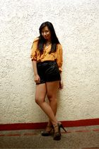 black Charles & Keith shoes - yellow Mums shirt - black thrift shorts