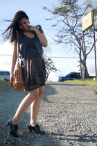 black thrift shoes - red MNG dress - black random vest - brown MNG accessories