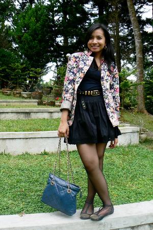 black studded flats Topshop shoes - pink floral thrift blazer - black H&M skirt