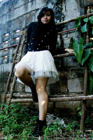 white tutu thrift skirt - black Charles &amp; Keith boots - black band thrift jacket