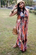 brown wdges janilyn shoes - orange maxi printed YRYS dress