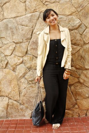 black jumpsuit prp pants - white Charles & Keith shoes - beige thrift jacket