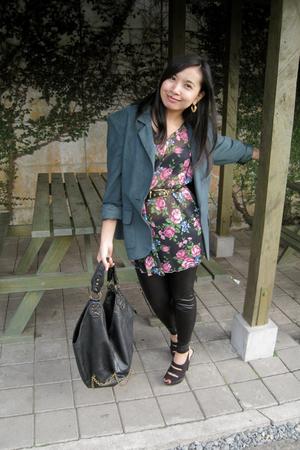 black MNG shoes - Blacksheep leggings - green velvet Mums blazer