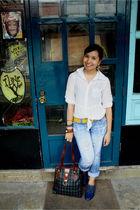 blue Janylin shoes - blue prp jeans - white Mango shirt - yellow Mango belt