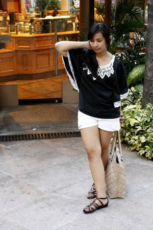 black Charles & Keith shoes - white shorts - black thrift top