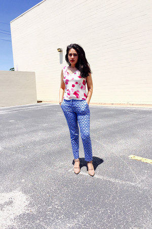 white floral silk Thrift Store top - blue cotton Zara pants