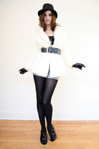 white rabbit fur coat vintage coat - black vintage pants