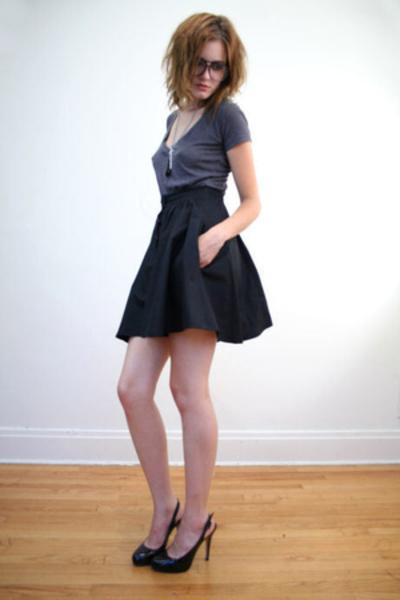 black vintage skirt - gray Forever 21 t-shirt