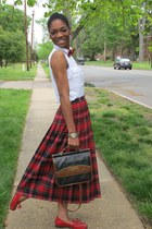 plaid thrifted vintage skirt - thrifted vintage purse