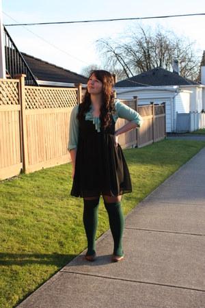 f21 socks - pins and needles dress - f21 blouse -  flats