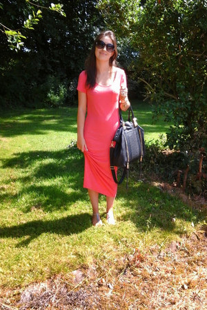 orange midi Primark dress - black River Island bag - nude beaded Primark sandals