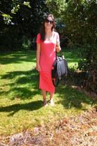 orange midi Primark dress - black River Island bag - nude beaded Primark sandals
