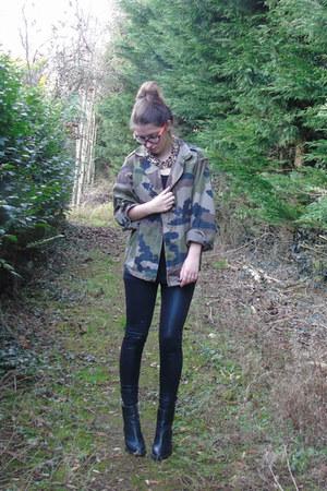 black leopard print bank boots - dark khaki camo Folkster jacket