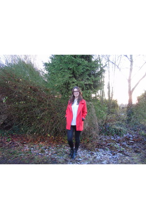 black ankle boots River Island boots - red Primark coat