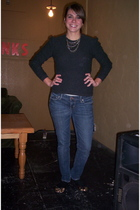 Forever 21 necklace - gray Valentino sweater - American Eagle jeans - Forever 21