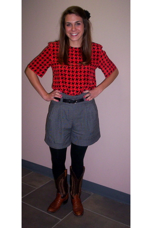 blouse - Forever 21 shorts - black tights - boots