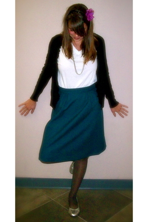 white Hanes t-shirt - black Target sweater - skirt - silver Target shoes