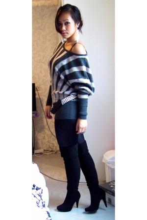 sweater - boots - leggings - belt