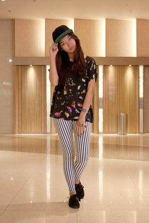 The classics hat - striped brandless leggings - bird prints Shopaholic top