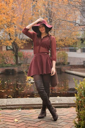crimson American Apparel hat - dark brown Aldo boots - crimson H&M shirt