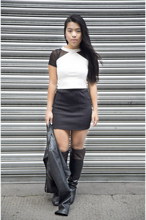 black lindex jacket - black Zara skirt - white Monki top