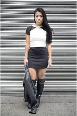 black lindex jacket - black Zara skirt - white Monki top