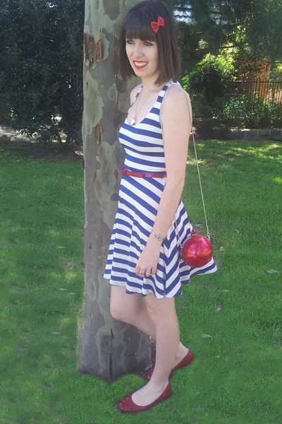 Forever new blue and white striped dress.