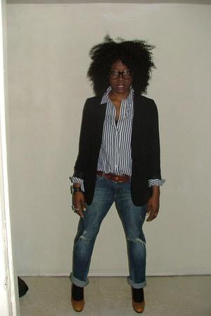 black H&M blazer - blue Tommy Hilfiger shirt - navy boyfriend jeans H&M pants -