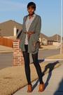 Gray-forever-21-cardigan-white-american-apparel-dress-brown-belt-brown-f