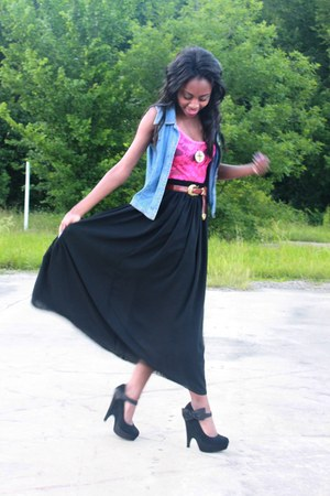black full American Apparel skirt - denim vest - hot pink lace bodysuit American