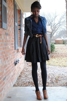 blue jacket - blue shirt - black Forever21 skirt - brown Forever21 shoes
