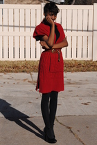 red dress - black Forever 21 shoes - black