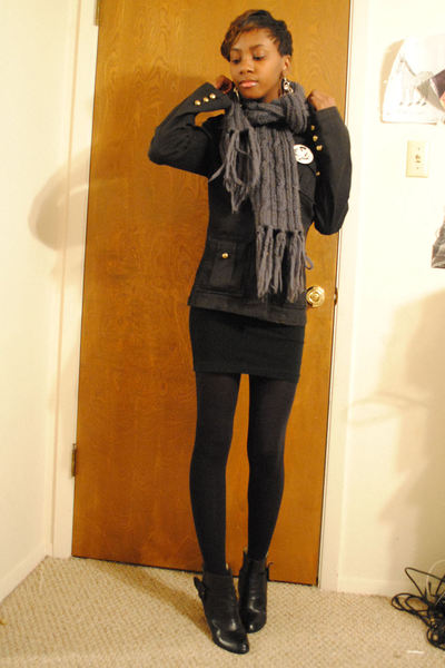 black jacket - American Apparel dress - black Forever21 boots - gray Forever21 s