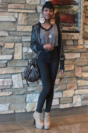 charcoal gray American Apparel sweater - black riding American Apparel pants