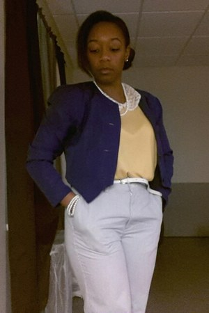 blue Express blazer - light yellow Forever 21 blouse - light blue Dockers pants