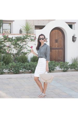 blank nyc skirt - linen button up Camixa shirt - sunglasses Valley sunglasses