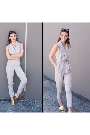 silver jumpsuit Missguided jumper - gold Missguided sandals