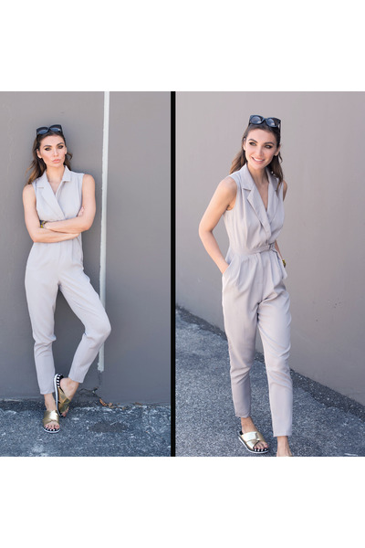 Silver-jumpsuit-missguided-jumper-gold-missguided-sandals