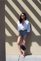 white Ivory & Chain shirt - black Dylan Kain bag - white Nanette Lepore sandals