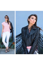 black fringe jacket Nasty Gal jacket - black white jeans blank nyc jeans