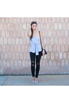 sky blue wrap bustier MLM The Label shirt - black twiggy jeans James Jeans jeans
