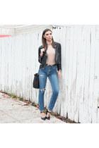 leather jacket Reformation jacket - front tie pumps Dee Keller shoes