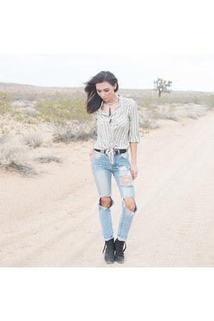 Karen Kane shirt - pistol boots acne boots - Boohoo jeans