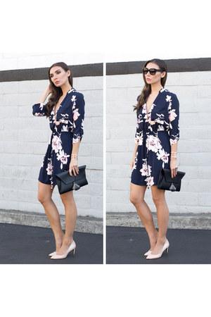 floral dress Dynamite dress - Oliveve bag - nude heels ted baker heels
