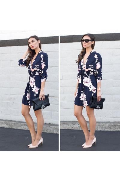 Floral-dress-dynamite-dress-oliveve-bag-nude-heels-ted-baker-heels