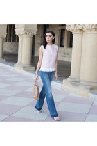 light pink linen shell top Elena Reva top - strappe heels Steve Madden shoes